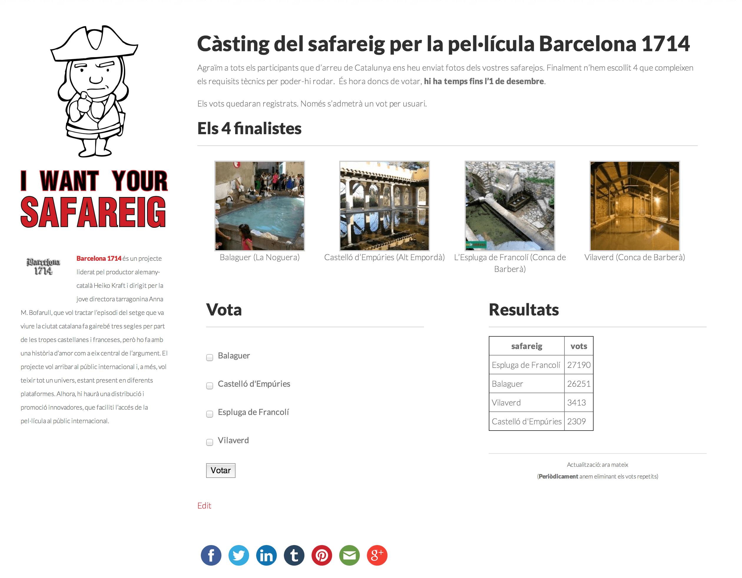 Correcció dels vots emesos al Càsting de Safareig de Barcelona 1714
